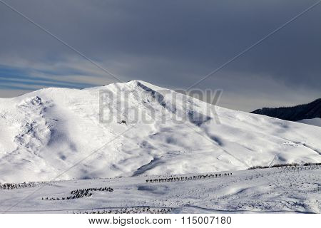 Snowy Mountains At Sun Morning