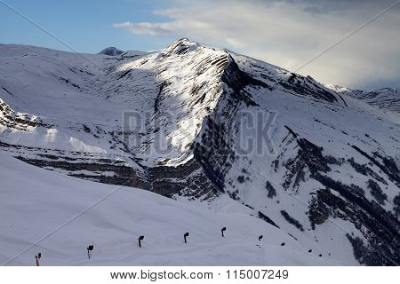 Ski Slope With Snow Cannon At Evening