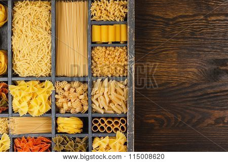 Wooden Typesetter Case With Pasta