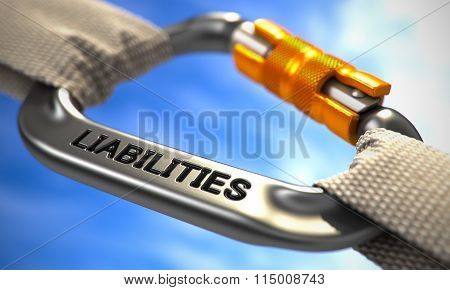 Liabilities on Chrome Carabine with White Ropes. Focus on the Carabine. poster