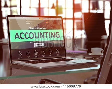 Accounting Concept on Laptop Screen.