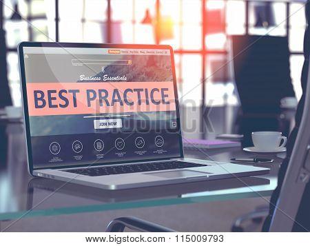 Best Practice Concept on Laptop Screen.