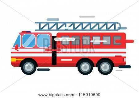 Fire truck car isolated. Fire truck cartoon silhouette. Fire truck mobile fast emergency service. Fire truck fast moving. Fire truck illustration.Vector rescue fire truck. Emergency truck