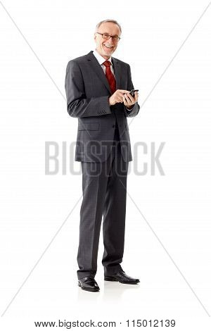 Isolated Business Senior Man, Writing Sms