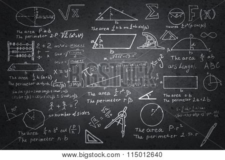 Mathematics sketches on blackboard