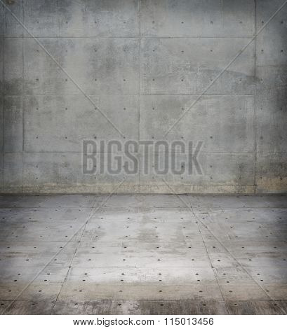 Concrete wall and floor. Concrete facility background.