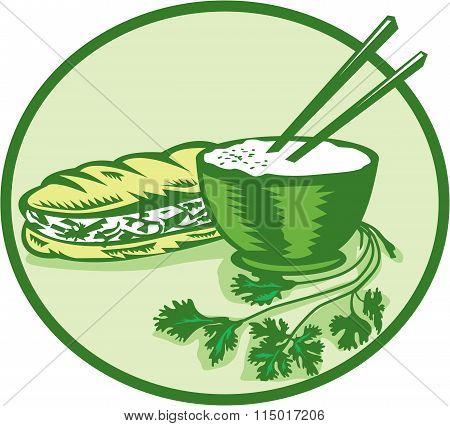 Banh Mi Rice Bowl Coriander Circle Retro