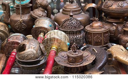 Prayer Wheels and other things at the souvenir market