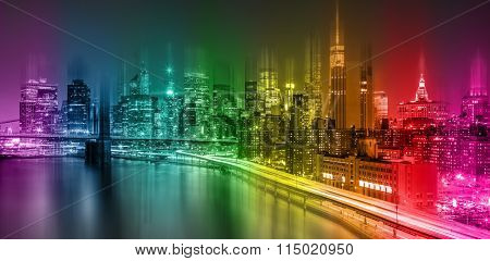 Abstract Fantastic Colorful New York City night scene with Manhattan skyline and Brooklin Bridge