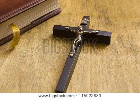 Catholic Wooden Crucifix And Book