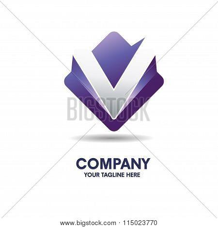 letter v logo with 3d effect