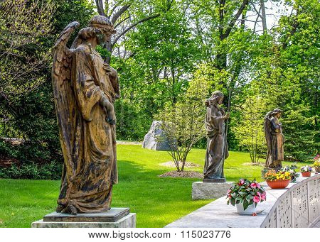 Angels watching over a columbarium