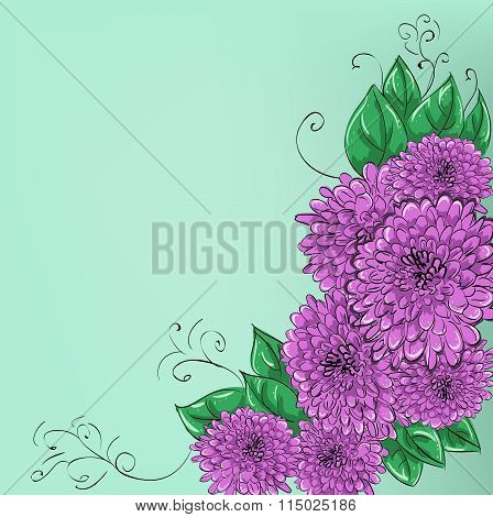 Hand-drawing floral background with flower rose