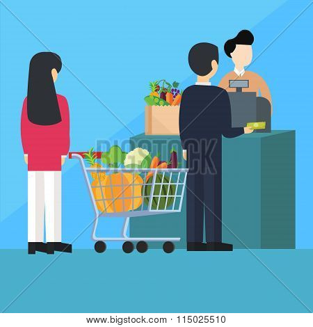 waiting inline queue pay cashier grocery shopping