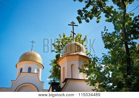 Dome Of The Orthodox Church Against The Sky