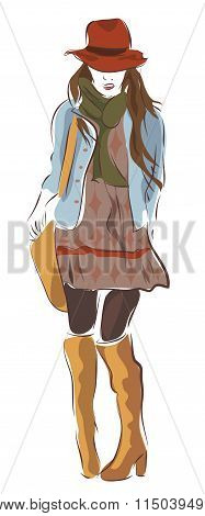 Modern City Woman in Fashion Clothes