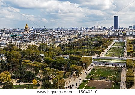Aerial View On Champ De Mars From Eiffel Tower. Paris