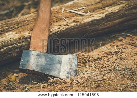 axe for woodworking on ground with vintage style