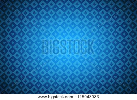 Minimalistic Blue Poker Background With Texture Composed From Card Symbols