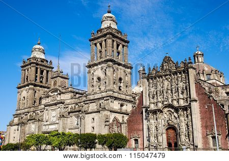 Detail View Of Cathedral Metropolitana In Mexico City