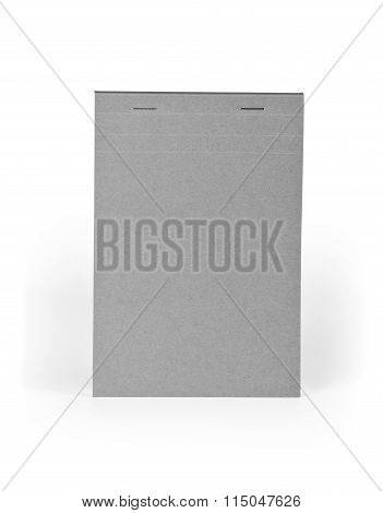 Blank Gray Notebook Isolated On White Background.
