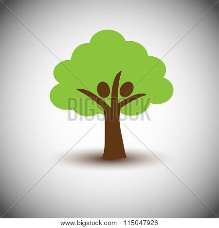 Concept of Eco Buddy with Green Tree -Save Trees