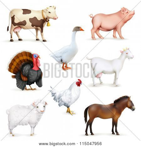 Animals and birds, farm set of vector icons