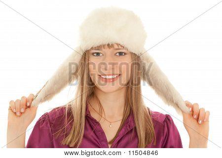 Woman In Fur Hat Smiling