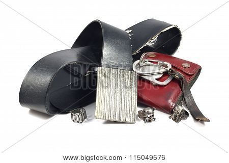 black leather belt vintage buckle skull silver ring and red wallet on white background poster