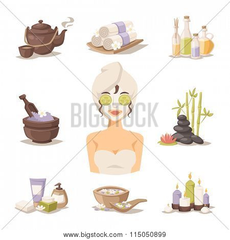 Spa beauty and body care vector icons and spa woman mask. Spa woman on white background. Spa icons. Spa silhouette sign. Body and skin care modern style illustration