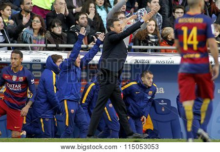 BARCELONA - JAN, 2: Luis Enrique Martinez manager of FC Barcelona during a Spanish League match against RCD Espanyol at the Power8 stadium on January 2, 2016 in Barcelona, Spain