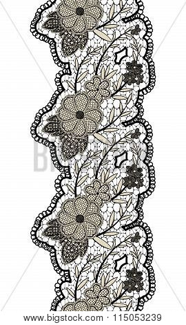 Black Seamless Lacy Vertical Ribbon Isolated On White Background. Floral Seamless Border For Design.