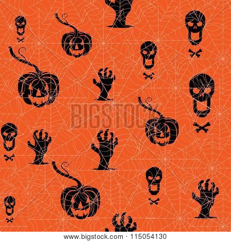 Seamless Halloween Background. Pumpkin, Skull And Contorted Hands On An Orange Backdrop With Spider