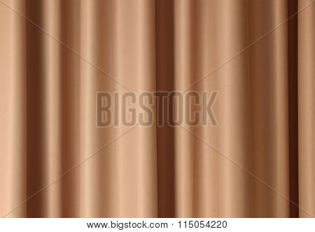 Brown curtain with pleats