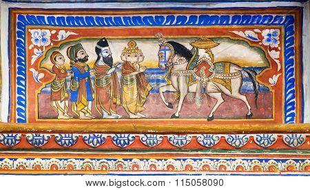 Reincarnation Of The God Kalki On Earth - Fresco Of Old Mansion