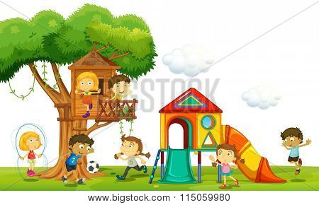 Children playing at the treehouse in the park illustration