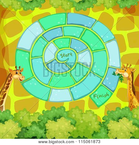 Boardgame template with giraffes in the bush illustration