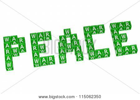 Word Peace Written With Blocks With Letters W,a,r