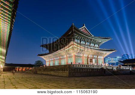 Gyeongbokgung Palace At Night In Seoul, South Korea.