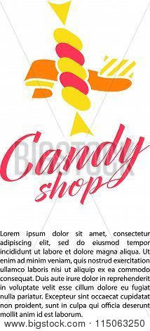 Vector flat logo collection for candy shop and sweet store.