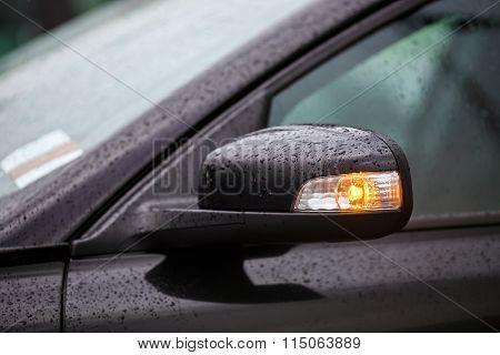 Car Mirror With Rain Drops