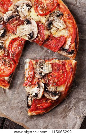 Puff pastry funghi pizza with mushrooms, cheese and tomato