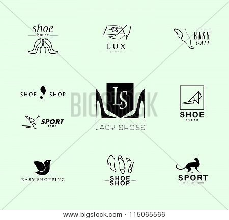Vector flat collection of stylish modern shoe logo for women, men and kids.