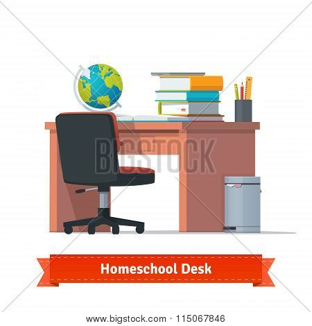 Comfortable homeschool workplace with the desk