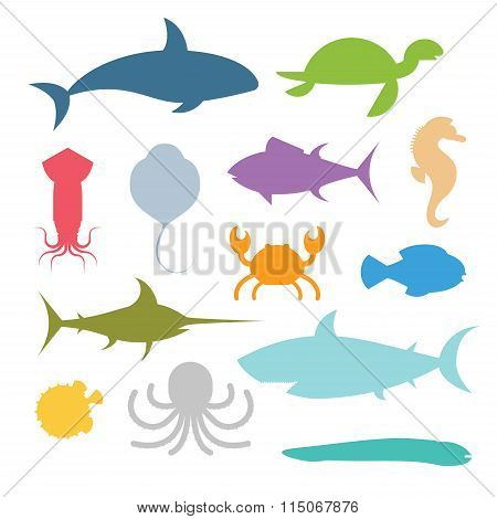 Vector set of sea marine fish and animals icons