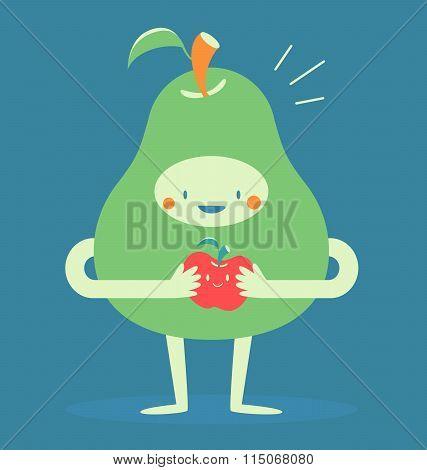 Cute Pear Hugging A Small Apple