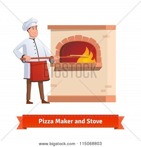 Chef cook putting pizza to a brick stone furnace