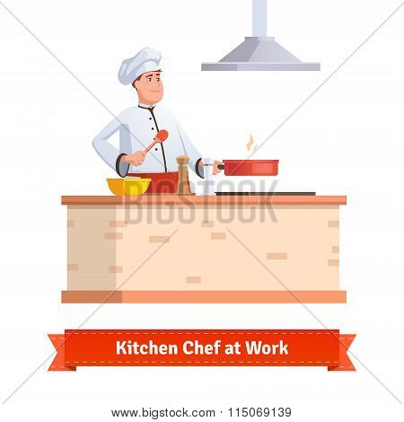 Chef cooking food