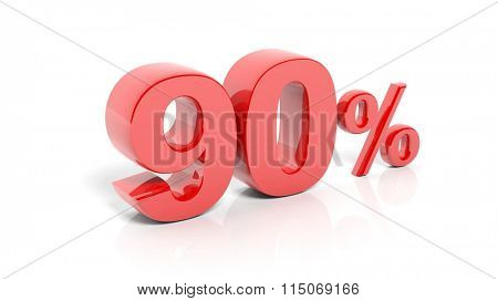 Red 90 percent number, isolated on white background.