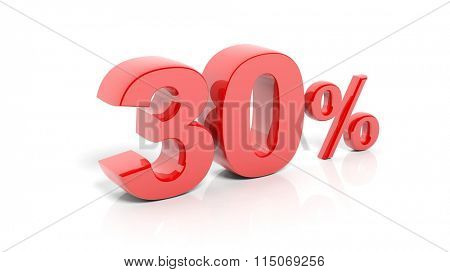 Red 30 percent number, isolated on white background.
